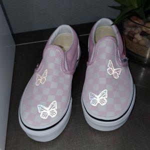 Kids vans reflective butterflies pink/white